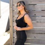 -Black -V-Neck -Lace Trim -Ribbed -Fabric Stretches -One Size Fits Most -Tank  Material: 92% Nylon | 8% Spandex  523 CROP BLK