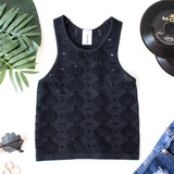 -Black -Racer Back -Sleeveless -Unlined -Crochet Style -Fabric Stretches -Comes in 4 Colors -Tank  Material: 92% Nylon | 8% Spandex  979 TANK BLK