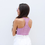 -Lilac -Racer Back -Sleeveless -Unlined -Crochet Style -Fabric Stretches -Comes in 4 Colors -Tank  Material: 92% Nylon | 8% Spandex  979 TANK PNK