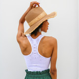 -White -Racer Back -Sleeveless -Unlined -Crochet Style -Fabric Stretches -Comes in 4 Colors -Tank  Material: 92% Nylon   8% Spandex  979 TANK WHT