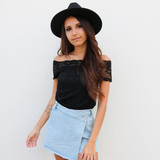 -Black -Lace -Off Shoulder -Partially Lined -Fabric Stretches -Comes in 3 Colors -One Size Fits Most -Top  Material: 92% Nylon   8% Spandex  L204 TOP BLKL