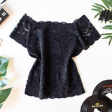 -Black -Lace -Off Shoulder -Partially Lined -Fabric Stretches -Comes in 3 Colors -One Size Fits Most -Top  Material: 92% Nylon | 8% Spandex  L204 TOP BLKL