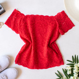 -Red -Lace -Off Shoulder -Partially Lined -Fabric Stretches -Comes in 3 Colors -One Size Fits Most -Top  Material: 92% Nylon | 8% Spandex  L204 TOP REDL
