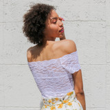 -White -Lace -Off Shoulder -Partially Lined -Fabric Stretches -Comes in 3 Colors -One Size Fits Most -Top  Material: 92% Nylon | 8% Spandex  L204 TOP WHTL