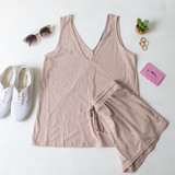 -Tan Color -V-Neck Front and Back -Tank Top -Breathable Fabric -Comes in 3 Colors -Unlined -Top -Set  Material: 65% Polyester | 35% Cotton  HF21E732 TANK TAN