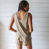-Olive Color -V-Neck Front and Back -Tank Top -Breathable Fabric -Comes in 3 Colors -Unlined -Top -Set  Material: 65% Polyester | 35% Cotton  HF21E732 TANK OLV