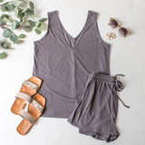 -Grey Color -V-Neck Front and Back -Tank Top -Breathable Fabric -Comes in 3 Colors -Unlined -Top -Set  Material: 65% Polyester | 35% Cotton  HF21E732 TANK GRY