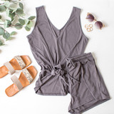 -Grey Color -Drawstring Waist -Breathable Fabric -Comes in 3 Colors -Unlined -Bottoms -Shorts -Set  Material: 65% Polyester   35% Cotton  HF21E732 SHORT GRY