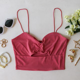 -Pink -Ribbed -Spaghetti straps -Key Hole Cut Out -Cinched -Cropped -Fabric Stretches -Tank Top -Comes in 7 Colors  Material: 95% Polyester 5% Spandex  HF21E642 CROP PNK