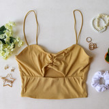 -Yellow -Ribbed -Spaghetti Straps -Key Hole Cut Out -Cinched -Cropped -Fabric Stretches -Tank Top -Comes in 7 Colors  Material: 95% Polyester 5% Spandex  HF21E642 CROP YEL