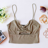 -Olive -Ribbed -Spaghetti Straps -Key Hole Cut Out -Cinched -Cropped -Fabric Stretches -Tank Top -Comes in 7 Colors  Material: 95% Polyester 5% Spandex  HF21E642 CROP OLV