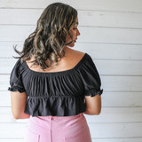 -Black -Puff Sleeve with Ruffle -Sweetheart Neck Line -Peplum Bottom -Front Tie -Fabric Does Not Stretch -Crop -Comes in 4 Colors  Material: 95% Cotton 5% Spandex  HF21E806 CROP BLK