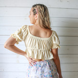 -Yellow -Puff Sleeve with Ruffle -Sweetheart Neck Line -Peplum Bottom -Front Tie -Fabric Does Not Stretch -Crop -Comes in 4 Colors  Material: 95% Cotton 5% Spandex  HF21E806 CROP YEL