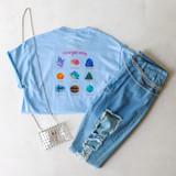 -Light Blue -Graphic Tee -Crew Neck -Short Sleeve -Oversized -Unlined -T-Shirt  Material: 100% Cotton  LTT1089 TEE ENERGY