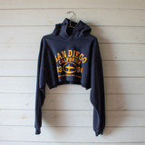 """-Navy Blue and Yellow -Hoodie  -Crew Neck -Cropped Length -Long Sleeve -Sweater  Size Large  Material: 80% Cotton 20% Polyester  Clothing Measurements: Bust: 46"""" Length: 12"""" Sleeve Length: 23"""""""