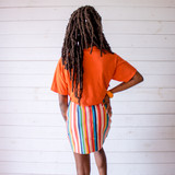 """-Orange with Blue Writing -Reads """"Florida"""" -Crew Neck -Cropped Length -Short Sleeve -T-Shirt  Size Medium  Material: 100% Cotton  Clothing Measurements: Bust: 38"""" Length: 13"""" Sleeve Length: 7"""""""