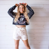 """-Black with White and Red Writing  -Reads """"Georgia Bulldogs 1785"""" -Crew Neck -Cropped Length -Long Sleeve  Size Extra Large  Material: 100% Cotton  Clothing Measurements: Bust: 42"""" Length: 15"""" Sleeve Length: 24"""""""