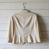 """-White with Brown Pinstripes -2 Pockets -Button Closure -Deep V Neck -Long Sleeve  Size Medium (Size 8)  Material: 79% Polyester 19% Rayon 2% Spandex  Clothing Measurements: Bust: 34"""" Length: 24"""" Sleeve Length: 19"""""""