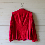 """-Red Velvet -2 Pockets -Button Closure -Deep V Neck -Long Sleeve  Size Large (Size 12)  Material: 100% Cotton  Clothing Measurements: Bust: 38"""" Length: 28"""" Sleeve Length: 25"""""""