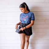"""-Blue with Red and White Print -Crew Neck -Full Length -Short Sleeve -T-Shirt  Size Small  Material: 50% Cotton 50% Polyester  Clothing Measurements: Bust: 34"""" Length: 25"""" Sleeve Length: 7"""""""