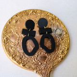 -Black -Clay-Like Texture -Gold Accents -Wood -Round -Dangle -Earrings
