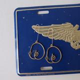 -Gold -Metal -Tata Shape -Dangle -Earrings