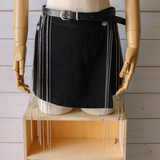 """-Leather Band -Silver Accents -Chain Fringe -Silver Closure -Adjustable -Fashion Belt  Length: 27-47"""""""