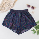 -Navy Color with Floral Pattern -Smocked Waistband -Breathable Fabric -Unlined -Bottoms -Shorts -Set  Material: Cotton and Polyester Blend  PW701 SHORT NVYF