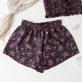 -Pink and Navy Blue Color with Floral Pattern -Smocked Waistband -Breathable Fabric -Unlined -Bottoms -Shorts -Set  Material: Cotton and Polyester Blend  TW565 SHORT PNKF