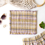 -Yellow Plaid Pattern -Smocked -Breathable Fabric -Ruffle Hem -Unlined -Tube Top -Top -Set  Material: 100% Rayon  PW701 SHORT YELP
