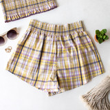 -Yellow Plaid Pattern -Smocked Waistband -Breathable Fabric -Unlined -Bottoms -Shorts -Set  Material: 100% Rayon  PW701 SHORT YELP