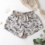 -Tan with Black Floral Pattern -Smocked Waistband -Breathable Fabric -Unlined -Bottoms -Shorts -Set  Material: Cotton and Polyester Blend  TW565 SHORT TANF