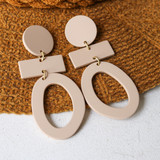 -Tan -Clay-Like Texture -Gold Accents -Wood -Round -Dangle -Earrings