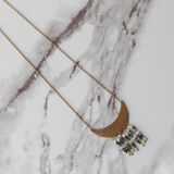 """-Crescent Pendant -Gold Chain -Beaded Tassel -Clasp -Necklace  Length: 19"""""""