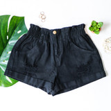 -High Wasted -Elastic Waistband -Black Denim Color -Distressed -Cuffed Bottom -Pockets -Zipper -Button -Belt Loops -Comes in 3 Washes -Shorts  Material: 100% Cotton  HF21F160 SHORT BLK