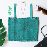 -Teal -Small Ruffle Top and Bottom -Thick Straps -Smocked -Knit -Tank -Cinched -Comes in 4 Colors  Model is wearing Size Small  Material: 95% Cotton 5% Spandex  DZ21E203 TANK TEL
