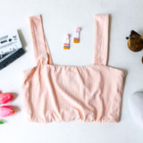 -Peach Color -Vertical Stripped Stitching -Thick Straps -Lined -Knit -Crop Top -Comes in 4 Colors  Model is wearing Size Small  Material: 95% Cotton 5% Spandex  HF21E286 CROP PNK
