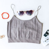 -Grey Color -Crochet Pattern -Crop Top -Spagetti Straps  -Elastic Bottom -Fabric Stretches -Comes in 4 Colors  Material: 92& Nylon   8% Spandex  1008 CROP GRY