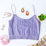 -Lavender Color -Crochet Pattern -Crop Top -Spagetti Straps  -Elastic Bottom -Fabric Stretches -Comes in 4 Colors  Material: 92& Nylon   8% Spandex  1008 CROP PRP