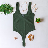 -Green Color -Thick Straps -V-Neck -Open Back -Ribbed -Fabric Stretches -Thong -Hook and Eye Clasp -One Size Fits Most -Bodysuit  Material: 92% Nylon | 8% Spandex  762 BSUIT GRN ONE SIZE
