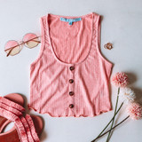 -Pink Color -4 Buttons Down Center -Scalloped Ruffle Bottom -Tank Top -Breathable Fabric -Comes in 3 Colors -Unlined -Top -Set  Material: 45% Rayon | 50% Polyester | 5% Spandex  HF21E878 TOP PNK
