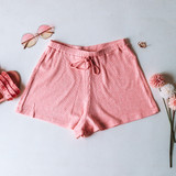 -Pink Color -Drawstring Waist -Breathable Fabric -Comes in 3 Colors -Unlined -Bottoms -Shorts -Set  Material: 45% Rayon | 50% Polyester | 5% Spandex  HF21E878 SHORT PNK