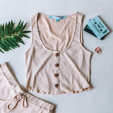 -Tan Color -4 Buttons Down Center -Scalloped Ruffle Bottom -Tank Top -Breathable Fabric -Comes in 3 Colors -Unlined -Top -Set  Material: 45% Rayon | 50% Polyester | 5% Spandex  HF21E878 TOP TAN
