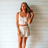 -Tan Color -Drawstring Waist -Breathable Fabric -Comes in 3 Colors -Unlined -Bottoms -Shorts -Set  Material: 45% Rayon | 50% Polyester | 5% Spandex  HF21E878 SHORT TAN