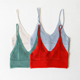 -Rust Color -Crochet Pattern -Crop Top -Skinny Straps -Comes in 4 Colors  Material: 100% Cotton  DZ21E553 TANK RST