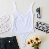 -White Color -Thick Straps -Ribbed -Fabric Stretches -Thong -Hook and Eye Clasp -Bodysuit  Material: 92% Nylon | 8% Spandex  755 BSUIT WHT