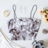 -White and Black Color -Roman Head Print -Spaghetti Straps -Square Neckline -Fabric Stretches -Crop Top  Material: 95% Polyester | 5% Spandex  T8428 CROP FACE