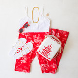 -White and Red Color -White Dragon Print -Elastic Waistband  -Flare  -Fabric Does Stretch  Material Content: 95% Polyester | 5% Spandex   P2468 PANT RDGON