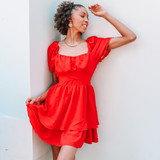 -Red Color -Elastic Puff Sleeve -Ruffle Edge on Sleeves -Sweetheart Neckline -Ties at Waist -Two Tier Bottom -Lined -Dress  Materials 100% Polyester   BD04862 DRESS RED