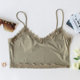 -Olive Color -Lace on Top and Bottom -Spaghetti Straps -Ribbed -Fabric Stretches -Crop Top  Material: 95% Polyester | 5% Spandex  HF21E405 TANK OLV